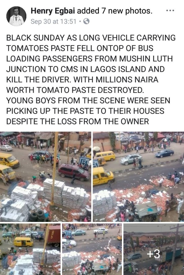 Truck fall on bus2 - PHOTOS: Driver killed as truck conveying tomatoes falls on bus in Lagos