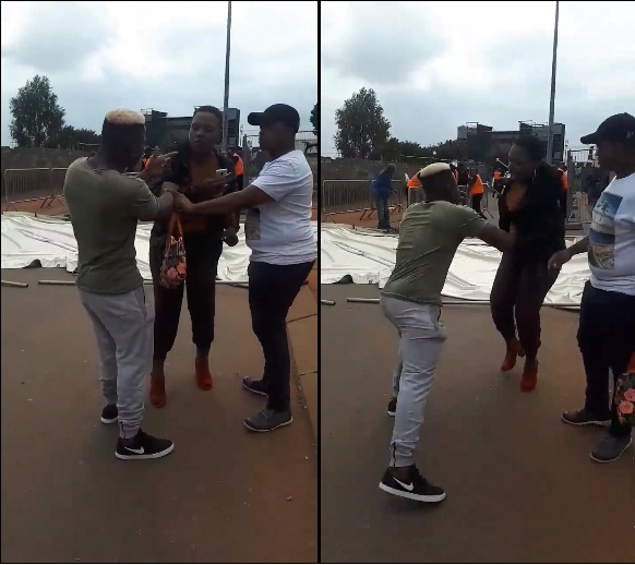 jealos - Jealous man humiliates his girlfriend in public after seeing her with another Guy