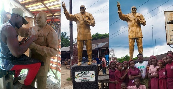 Image result for Serving Youth Corper Erects Statue Of Governor Wike In Rivers State