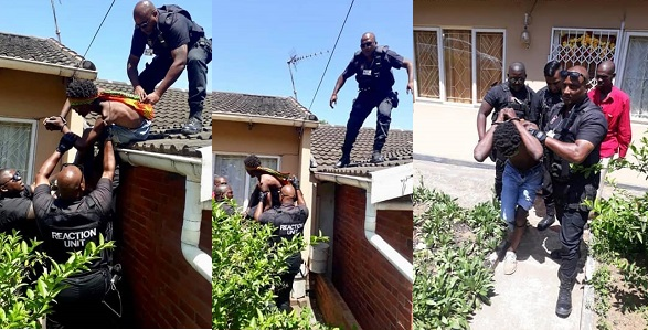 Image result for Man high on drugs climbs the roof of a building, begs police to shoot him