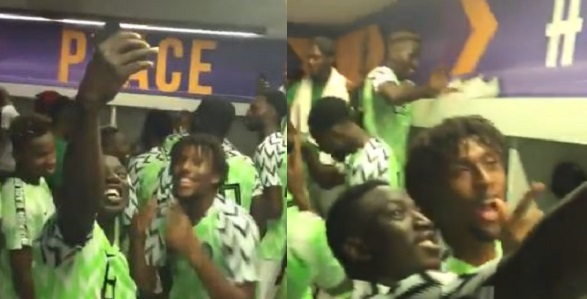 Image result for Iwobi, Musa, Ogu, Ihenacho and other Super Eagles' stars celebrate in the dressing room as Nigeria qualify for 2019 AFCON (Videos)