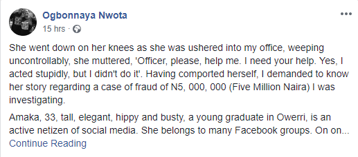 Young lady lands in police net after man transferred N5 million into her account.