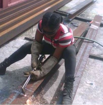 See photos of Pretty Nigerian Lady who makes money from welding