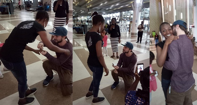 Image result for American man visiting Nigeria for the first time, proposes to his girlfriend – who he is meeting for the time (Photos)
