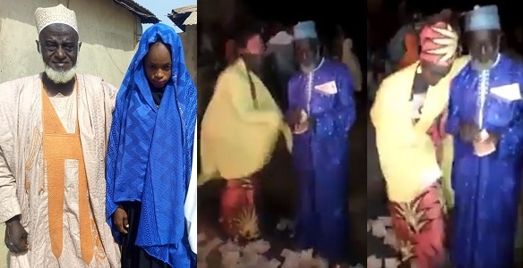Image result for Update: 70-year-old Alhaji sprays money on his 15-year-old bride as she dances for him (video)