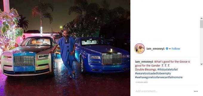 Days after buying his wife one, E-money also gets himself a Rolls Royce as Christmas gift