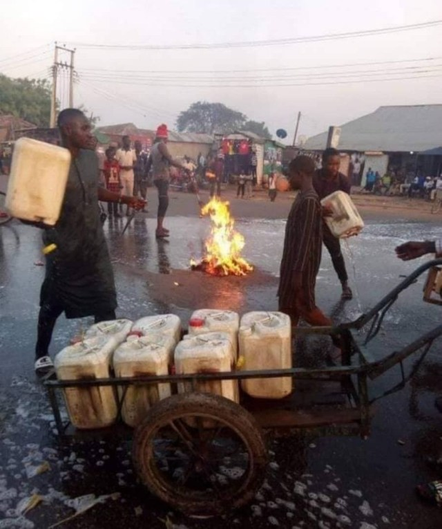 Kaduna state residents wash their streets