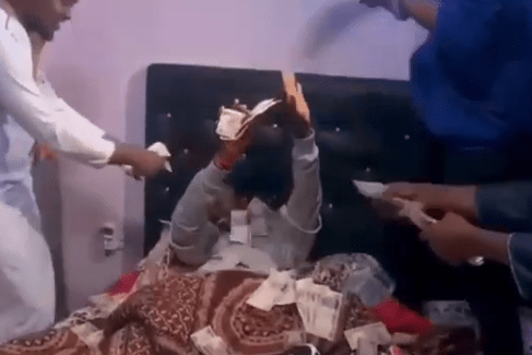Igbo guys use cash to wake up their friend as they surprise him on his birthday