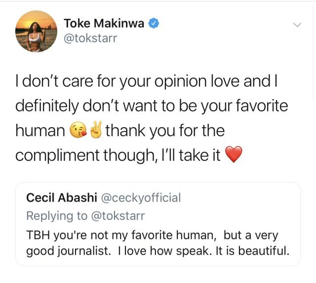 Toke Makinwa replies follower's