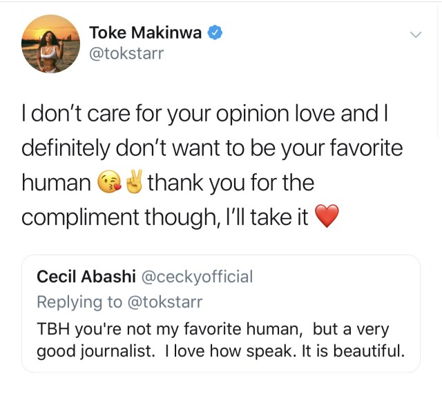 Toke Makinwa replies follower's