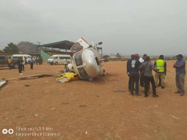 Image result for Osinbajo's helicopter crash-lands in Kabba
