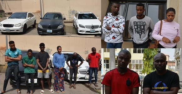 Image result for Male and female suspected internet fraudsters apprehended in Abuja
