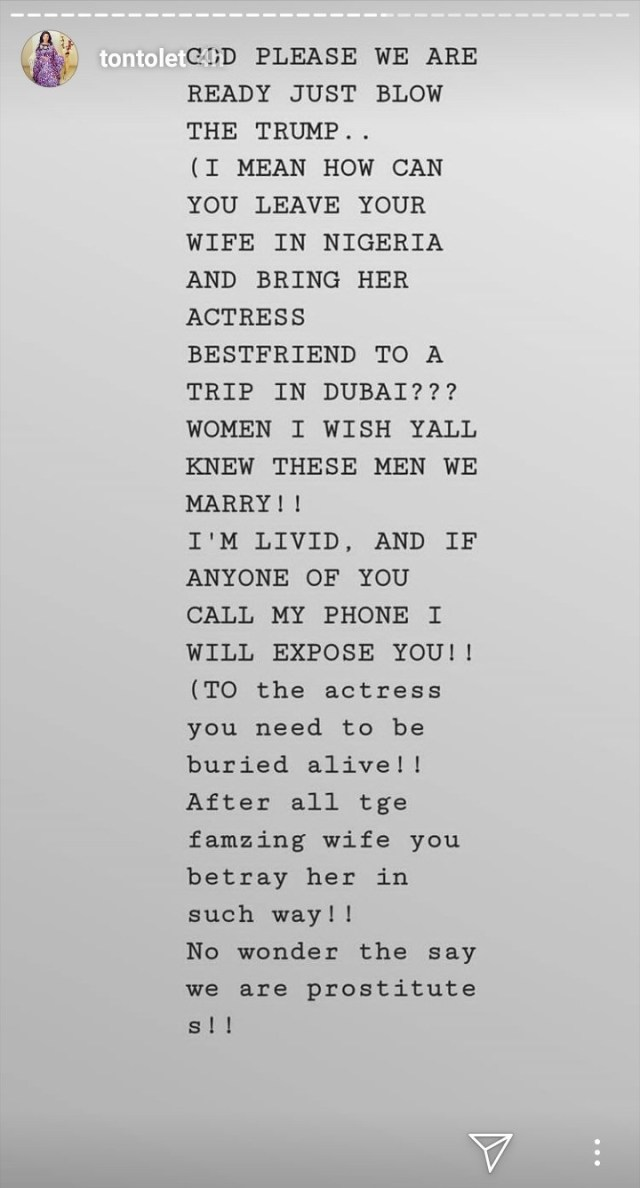 """""""You need to be buried alive"""" Tonto Dikeh calls out husband who left his wife in Nigeria and took his wife's best friend to Dubai"""