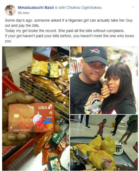 nigerian man praises his girlfriend after she paid the bills