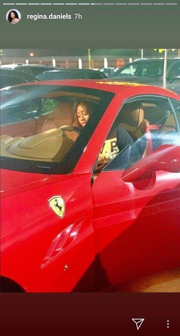 Regina Daniels drives Ferrari