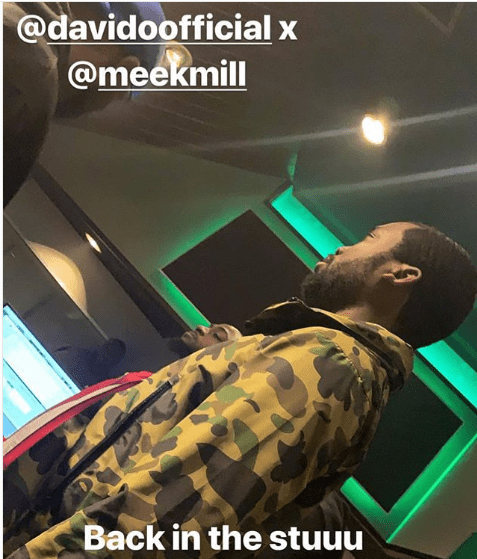 Davido and Meek Mill pictured working together in the studio