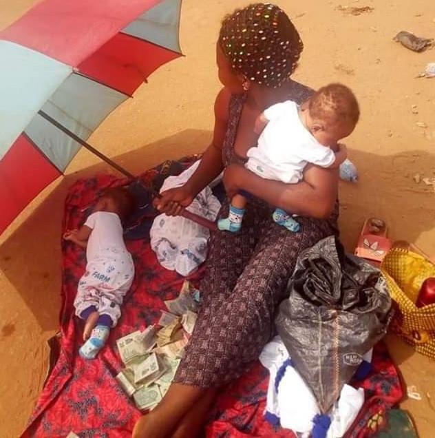 newborn triplets spotted begging