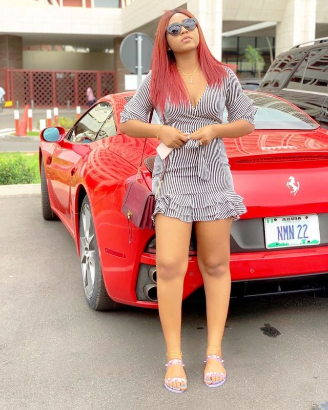 Regina Daniels Steps Out With Her Husband's Customized Ferrari (Photos)