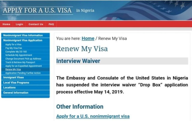 US Embassy suspends visa interview waivers
