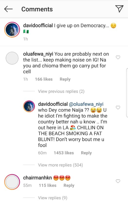 Davido replies troll