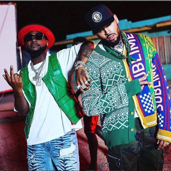 Chris Brown and Davido pictured together as they prepare to release a new music_1