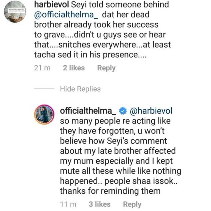 Thelma praises Tacha