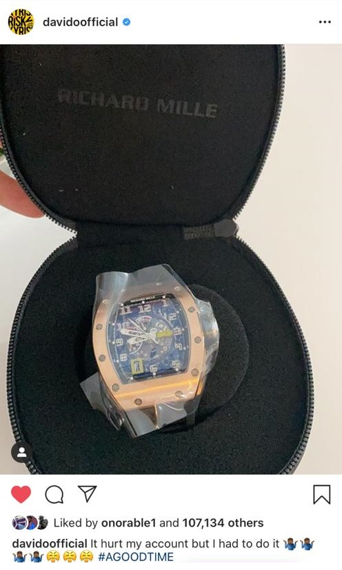 Davido buys Richard Mille watch
