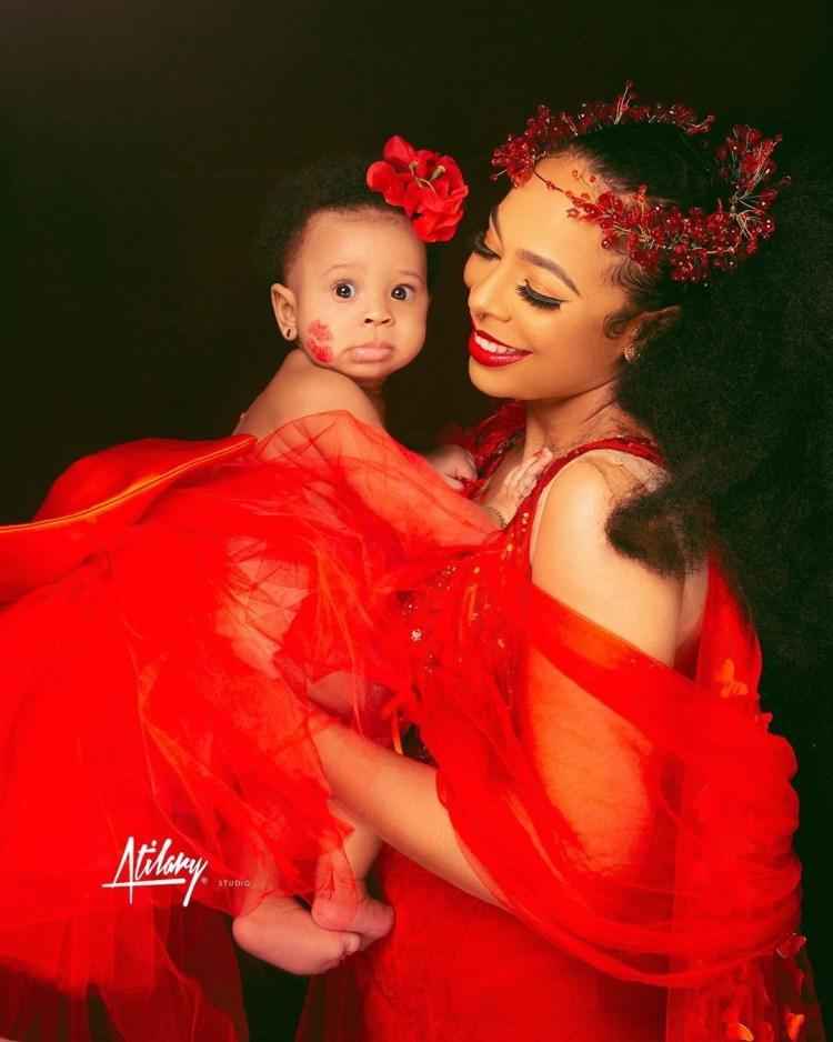 Photos: TBoss finally shows off her daughter's face 1