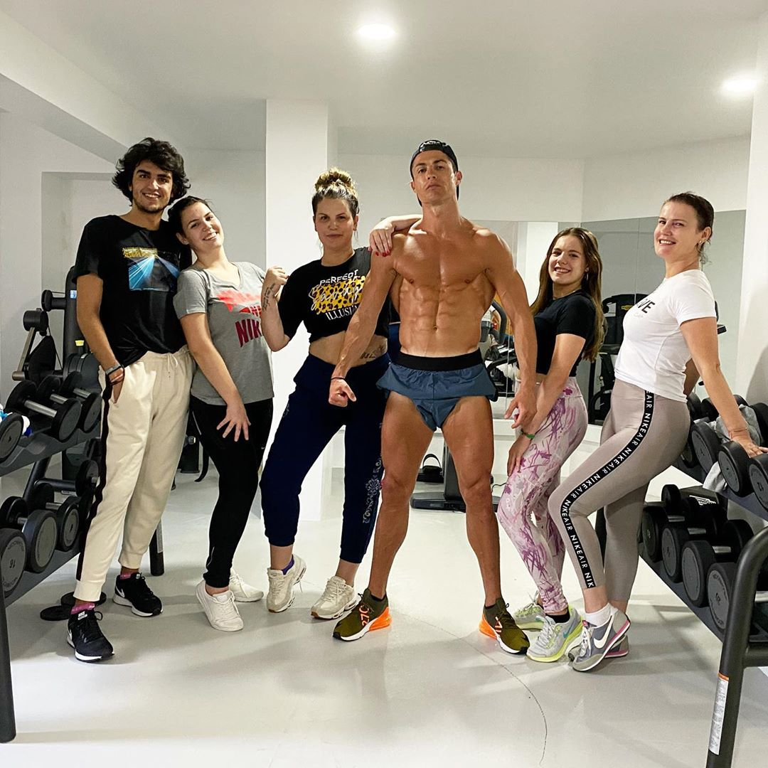 Cristiano Ronaldo pictured with his sisters and niece in the gym while on lock down at his luxury villa in Madeira
