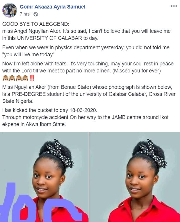 Jamb Candidate dies on her way to write exam in Calabar