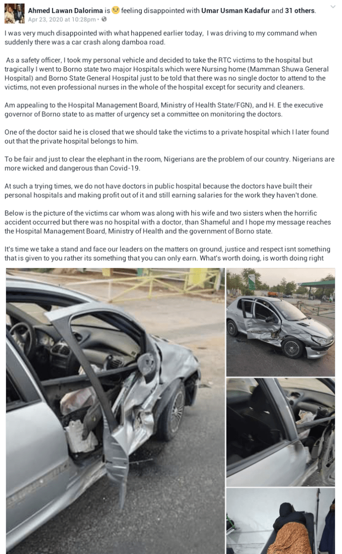 """Nigerians are more wicked and dangerous than Covid-19"" – Road Safety Officer says after he rushed accident victims to two hospitals but was told no doctor was around 5"