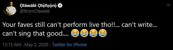 Brymo's tweet