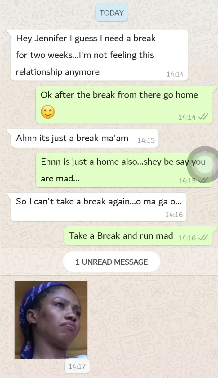 """Hilarious screenshots of people pranking their partners by saying they need a """"two-weeks"""" break 30"""
