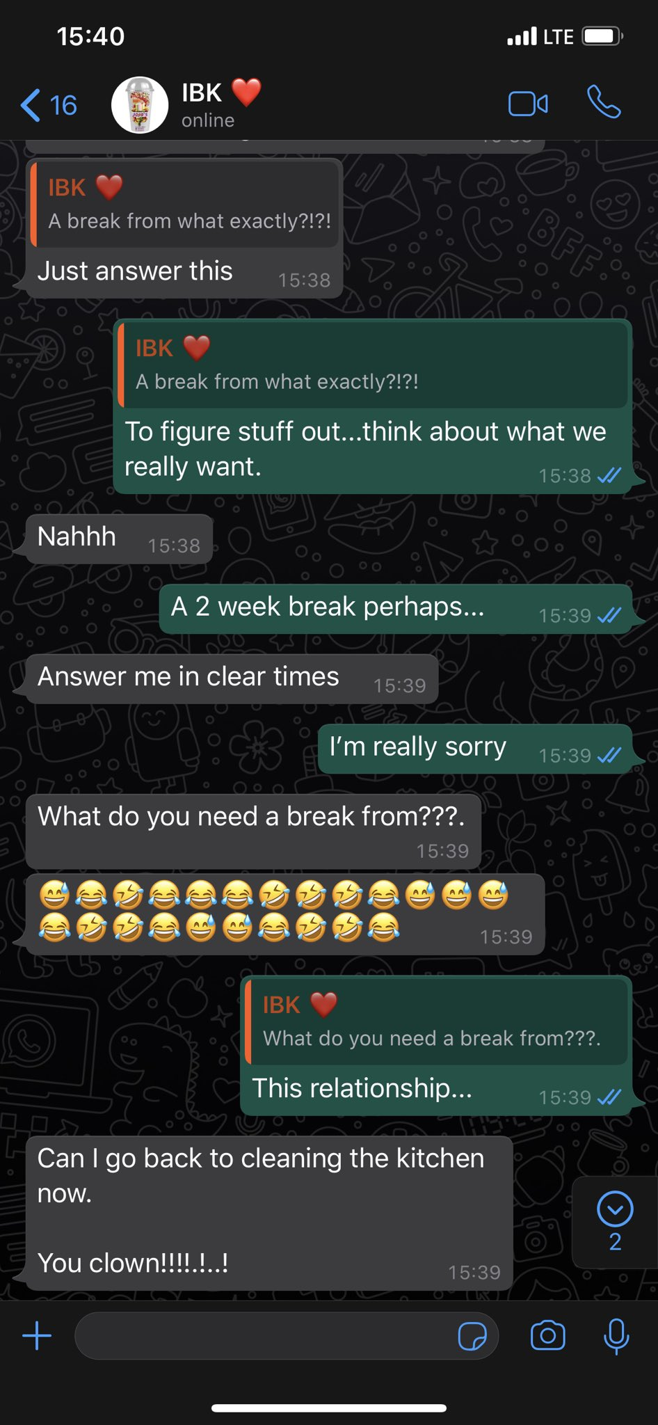 """Hilarious screenshots of people pranking their partners by saying they need a """"two-weeks"""" break 21"""