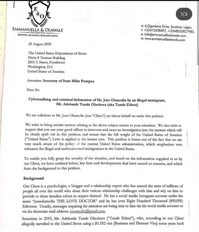 Joro Olumofin files lawsuit