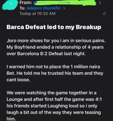 Nigeria Man who bet winning on Barcelona loss N1million meant for his wedding,His fiancée cries out for help