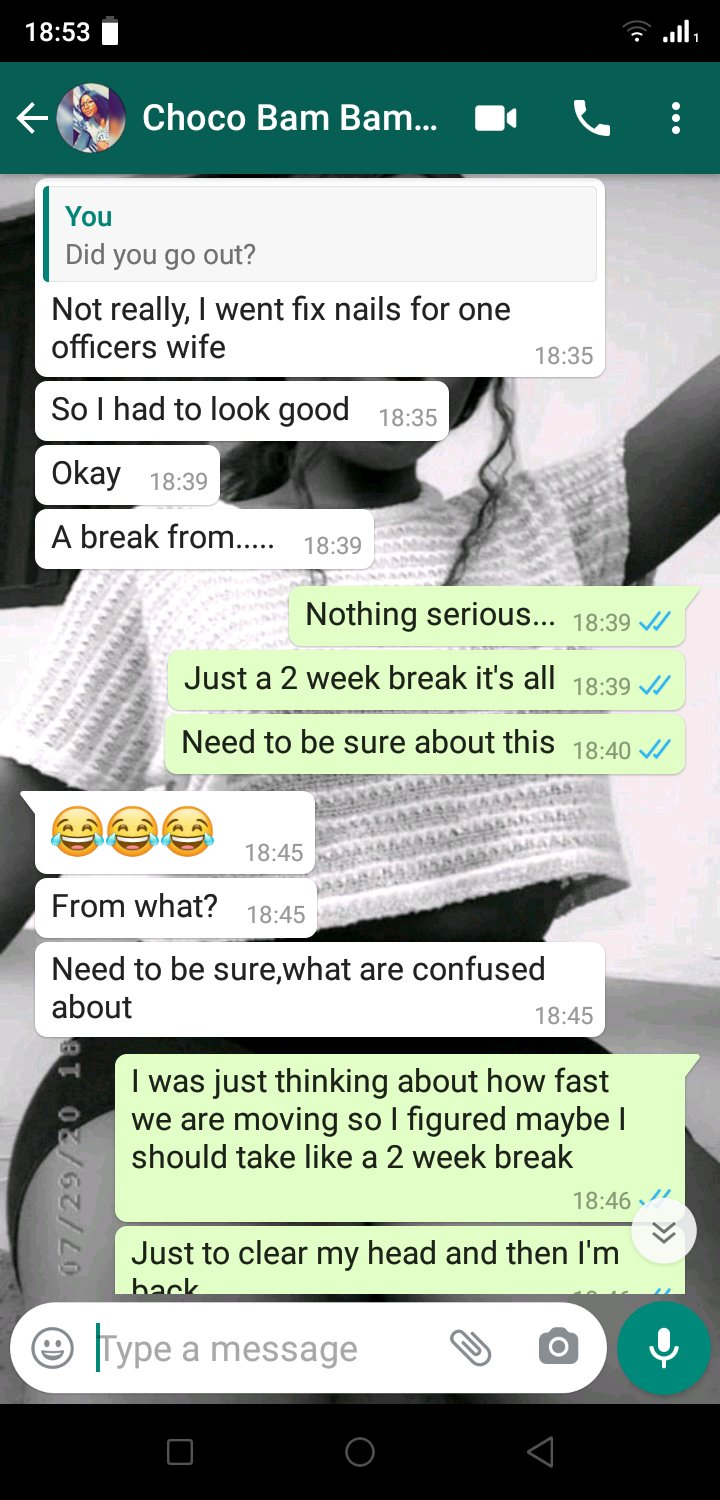 """Hilarious screenshots of people pranking their partners by saying they need a """"two-weeks"""" break 3"""