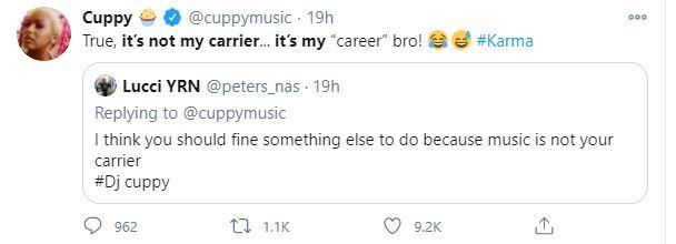 Dj Cuppy Savagely Replies