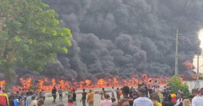 Fire guts petrol tanker on Oshodi-Apapa Expressway (Video)