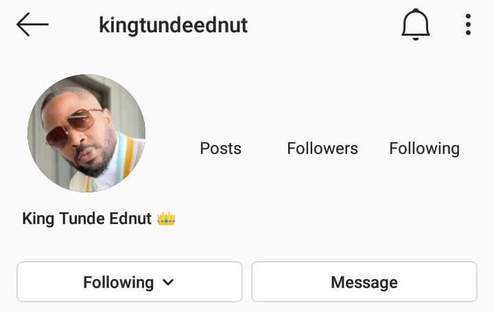 3 days after his comeback also hitting 1Million followers Instagram deletes Tunde Ednut's page again