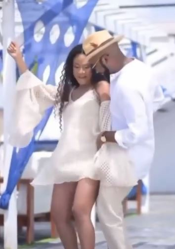 Adorable moment Banky W and Adesua vibe to a song during maternity shoot (Video)