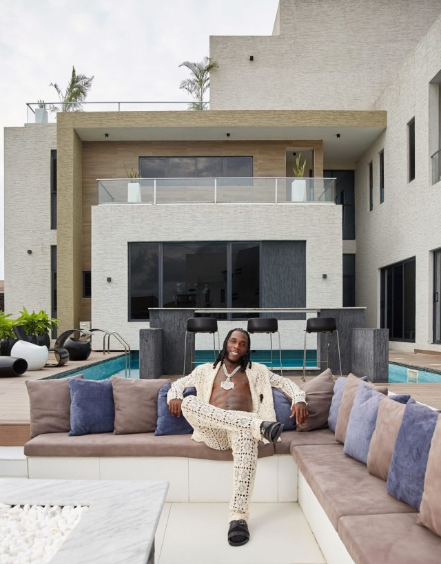 """""""This Is Where I Made My Grammy-Winning Album"""" - Burna Boy writes as he flaunts his Lagos mansion (Video)"""