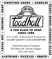 Toad Hall Business Card, Yachats, OR