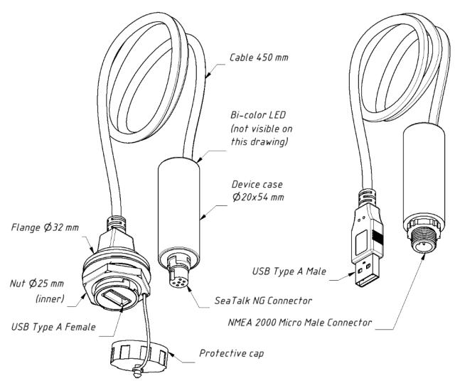 Drawing of YDNU-02RF and YDNU-02NM models of Gateway