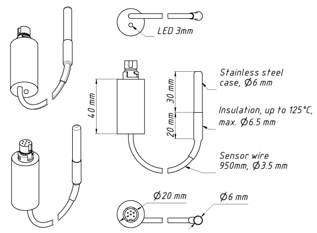 Drawing of YDTC-13R model of Thermometer