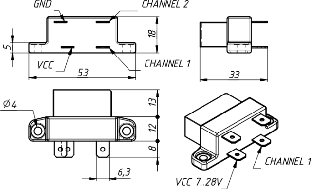 Drawing of Smart Relay YDSR-01
