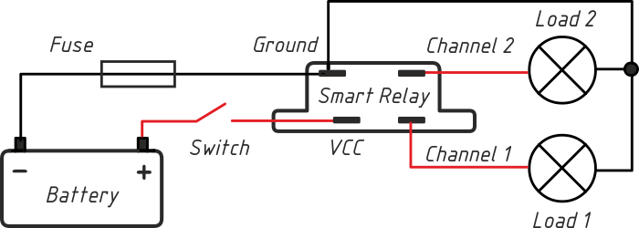 Smart Relay: Control two loads with one power switch
