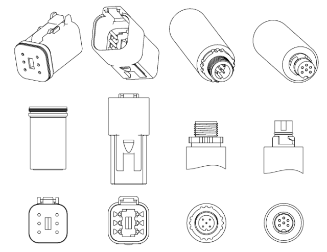 Device connectors, left to right: J1939 6-pin Deutsch connector female, Deutsch connector male, NMEA 2000 Micro Male connector, SeaTalk NG connector