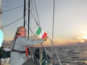 Changing the courtesy flag at sunset on the second day