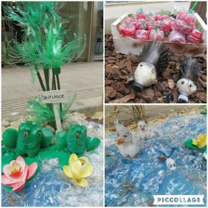 Craftytastic Easter display with plastic bottles